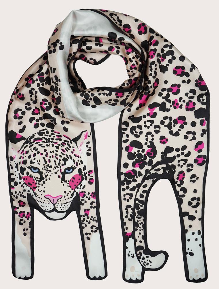 small+jaguar+with+pink+snow+silk+scarf